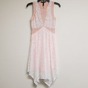 NWT BCBGMaxAzria White/Pink Lace Meilani Dress XXS